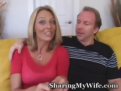 cheerful couple looks for young dong to please