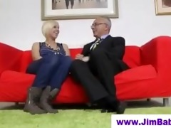 blonde in nylons and old man