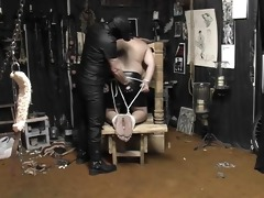 chubby chap tied, spanked and cummed on - pig dad
