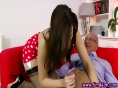 posh brunette in nylons acquires a cumshot